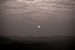 Sunrise view on hilltop Monochrome. Sunrise view on hilltop mountain Southeast Asia Royalty Free Stock Photo