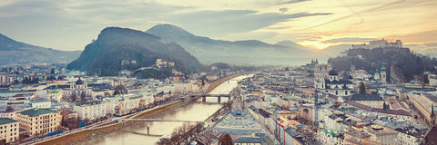 Sunrise view of the historic city Salzburg Royalty Free Stock Photos