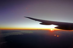 Sunrise, View From Jet Aircraft Royalty Free Stock Photos