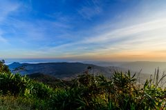 Sunrise view of landscape at Tropical Mountain Range Phu Rua Nat. Ional Park Loei Thailand Royalty Free Stock Photo