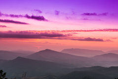 Sunrise view of landscape at Tropical Mountain Range Stock Photos