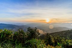 Sunrise view of landscape at Tropical Mountain Range Phu Rua Nat. Ional Park Loei Thailand Royalty Free Stock Image