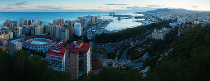 Sunrise view of Malaga with Port Royalty Free Stock Photography
