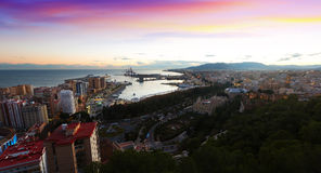 Sunrise view of Malaga with Port Royalty Free Stock Images