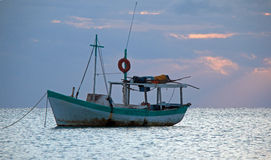 Sunrise View of Mexican Fishing Boat near Cancun Mexico Stock Image