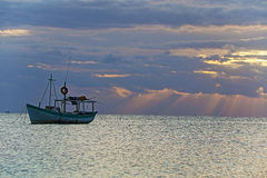 Sunrise View of Mexican Fishing Boat near Cancun Mexico Stock Photos