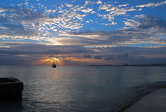 Sunrise View of Mexican Fishing Boat in Puerto Juarez Cancun Mexico Royalty Free Stock Photography