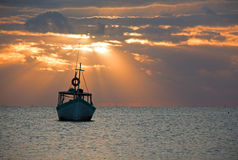 Sunrise View of Mexican Fishing Boat in Puerto Juarez Cancun Mexico Stock Image
