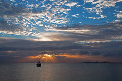 Sunrise View of Mexican Fishing Boat in Puerto Juarez Cancun Mexico Stock Photos