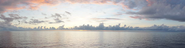 Sunrise view on the middle of sea Stock Photography