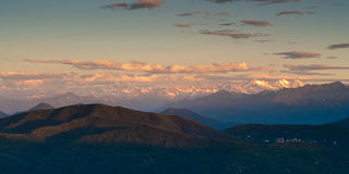 Sunrise view from monte san giorgio Royalty Free Stock Images