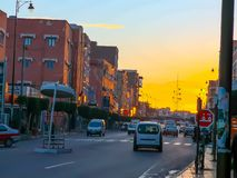 Sunrise. View and morning street activity in Laayoune city, Morocco royalty free stock photo