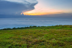 The sunrise view on morning twilight time at the top of mountain with sea of fog Phu Thap Boek Phetchabun Province Thailand Royalty Free Stock Photos