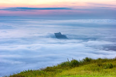 The sunrise view on morning twilight time at the top of mountain with sea of fog Phu Thap Boek Phetchabun Province Thailand Stock Images