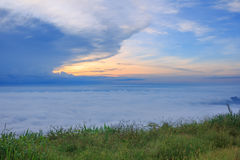 The sunrise view on morning twilight time at the top of mountain with sea of fog Phu Thap Boek Phetchabun Province Thailand Royalty Free Stock Photo