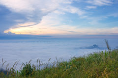 The sunrise view on morning twilight time at the top of mountain with sea of fog Phu Thap Boek Phetchabun Province Thailand Stock Photography