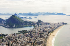 Sunset view of mountain Sugar Loaf and Botafogo in Rio de Janeiro. Brazil Stock Images