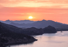 Sunrise, view from the mountain of the surrounding mountains and the Black sea, Crimea Royalty Free Stock Image