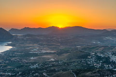 Sunrise view from the mountain top village Erice Stock Images