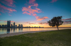 Sunrise View of Perth Skyline from Swan River Stock Photography