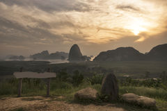 Sunrise View of Phang Nga bay from Toh Li View Point, Thailand,M. Ilestone with curve river view Stock Images