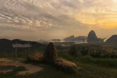 Sunrise View of Phang Nga bay from Toh Li View Point, Thailand. Milestone with curve river view Royalty Free Stock Photos