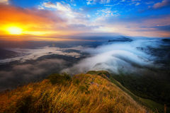 The sunrise view of Phatang in northern Mountain of Thailand. Stock Image
