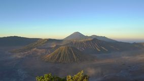 Sunrise at the view point on the Bromo volcano inside the Tengger caldera on the Java Island, Indonesia