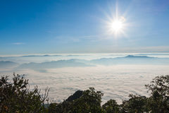 Sunrise view point from Doi Chiang Dao mountain. Chiang mai, Thailand Royalty Free Stock Photography