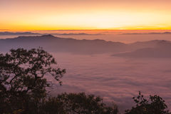 Sunrise view point from Doi Chiang Dao mountain Royalty Free Stock Images