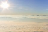 Sunrise on view point wetlands sea fog Doi Luang Chiang Dao. Stock Photography