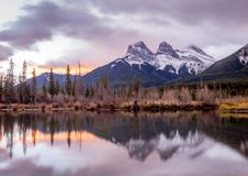 Three Sisters, Canmore Alberta stock photography