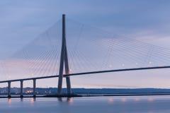 Sunrise near Pont de Normandie, Seine bridge in France Royalty Free Stock Images