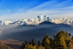 Sunrise view from Poon hill. Beautiful landscape photo of Dhaulagiri mountains from Poon hill royalty free stock photo