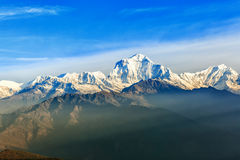 Sunrise view from Poon hill. Beautiful landscape photo of Dhaulagiri mountains from Poon hill stock photo