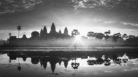 Temple complex Angkor Wat Siem Reap, Cambodia. Sunrise view of popular tourist attraction ancient temple complex Angkor Wat with reflected in lake Siem Reap Stock Photos