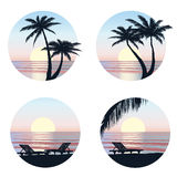 Sunrise view at resort. Seaside holiday set. Royalty Free Stock Photography