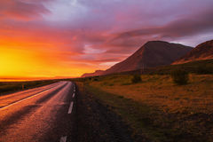 Sunrise. View from ring road around Iceland Royalty Free Stock Image