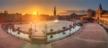 Spain Square in Maria Luisa Park of Seville, Spain. Sunrise view of Spain Square in Maria Luisa Park Seville, Andalusia, Spain Stock Photo
