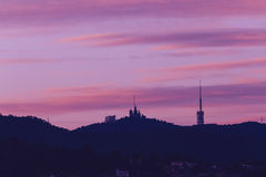 Sunrise view of Tibidabo in Barcelona. Catalonia, Spain Stock Photos