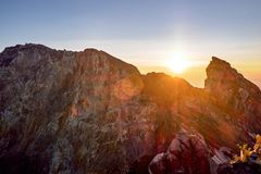 Sunrise on the crater rim of Bali`s Mount Agung volcano before eruption royalty free stock photography