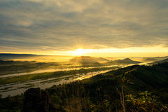 Sunrise view from top of mountain Stock Images