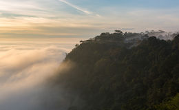 Sunrise view from top of the mountain in Thailand Stock Photos
