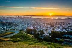 Sunrise view from Twin Peaks, in San Francisco,  Royalty Free Stock Photography
