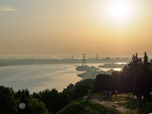 Volga river at sunrise Stock Images