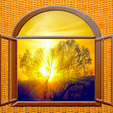 Sunrise view from the window Stock Images