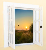 Sunrise view from the window Royalty Free Stock Photos