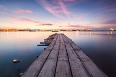 Sunrise view from a wooden bridge. Beautiful landscape series of sunrise and sunset collection from George Town, Penang, Malaysia Stock Photos