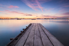 Sunrise view from a wooden bridge. Beautiful landscape series of sunrise and sunset collection from George Town, Penang, Malaysia Royalty Free Stock Photo