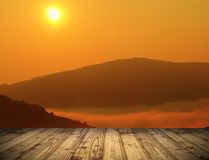 Sunrise view from wooden terrace Royalty Free Stock Images